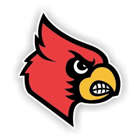 Louisville Cardinals Mascot Head Vinyl Die Cut Decal