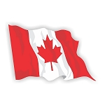 Canada Flag Waving  Vinyl Die-Cut Decal / Sticker ** 4 Sizes **