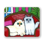 Cats On Couch Mouse Pad 9.25