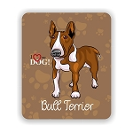 I Love my Colored Bull Terrier Mouse Pad 9.25