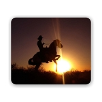 Cowboy and Horse Sunset (b) Mouse Pad 9.25