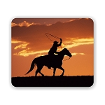 Cowboy and Horse Sunset (c) Mouse Pad 9.25