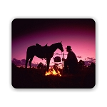 Cowboy and Horse Sunset (d) Mouse Pad 9.25
