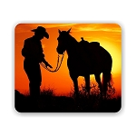Cowboy and Horse Sunset Mouse Pad 9.25