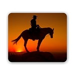 Cowboy on a Horse Sunset Mouse Pad 9.25