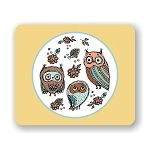 Doodle Owl Family Mouse Pad 9.25