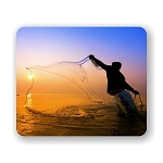 Fisherman Throwing Net Mouse Pad 9.25