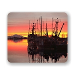 Fishing Fleet In Sunset Mouse Pad 9.25