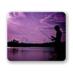 Fishing in Purple Sunset Mouse Pad 9.25