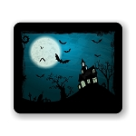 Halloween Bats and Spooky House  Mouse Pad 9.25
