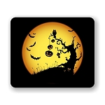 Halloween Spooky Owl and Pumpkins Mouse Pad 9.25