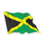 Jamaica Flag Waving  Vinyl Die-Cut Decal / Sticker ** 4 Sizes **