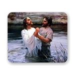 Jesus Christ & John The Baptist Mouse Pad 9.25