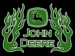 John Deere Green Flames Vinyl Die-Cut Decal / Sticker * 4 Sizes *