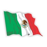 Mexico Flag Waving  Vinyl Die-Cut Decal / Sticker ** 4 Sizes **