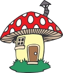 Smurfs (Mushroom House) Die-cut Vinyl Decal / Sticker ** 4 Sizes **