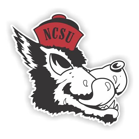 North Carolina State Wolfpack Mascot Head Die Cut Decal