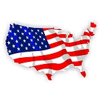 USA FLAG COUNTRY SHAPE Vinyl Die-Cut Decal / Sticker ** 4 Sizes **