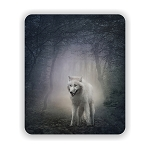 White Wolf  Mouse Pad 9.25