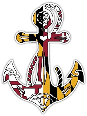 Maryland Anchor Flag (B) Die-cut Vinyl Decal / Sticker ** 4 Sizes **