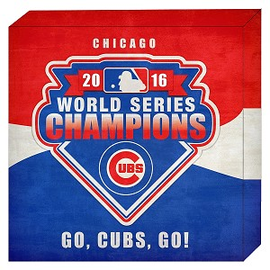"Chicago Cubs Championship Stretched 16"" x 16"" Canvas. Shipping Included!"