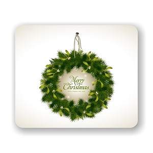 "Christmas Wreath  Mouse Pad 9.25"" X 7.75"""