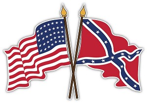 crossed american and confederate flags die cut decal 4 sizes