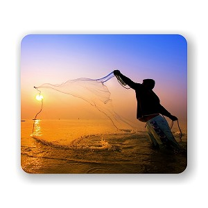 "Fisherman Throwing Net Mouse Pad 9.25"" X 7.75"""