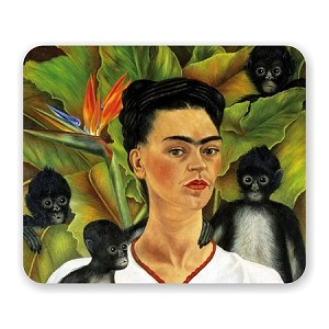 "Frida Kahlo ""Self-Portrait With Monkeys"" Mouse Pad 9.25"" X 7.75"""