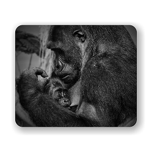 "Gorilla Mom and Baby Mouse Pad 9.25"" X 7.75"""