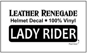 LADY RIDER Die-Cut Vinyl Helmet / Motorcycle Decal
