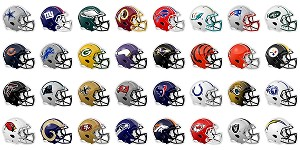 "32 Decals New Shape Football Helmets Entire NFL Gift Package! 5.5"" each"