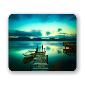 "Wooden Pier And A Boat On A Lake Sunset  Mouse Pad 9.25"" X 7.75"""